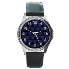 Triangle3 Black Marble & Blue Leather Round Metal Watch by trendistuff