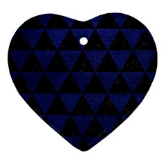 Triangle3 Black Marble & Blue Leather Ornament (heart)