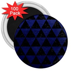 Triangle3 Black Marble & Blue Leather 3  Magnet (100 Pack) by trendistuff