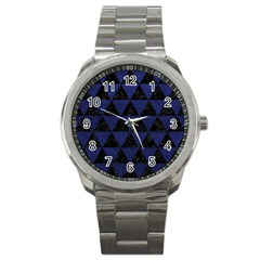 Triangle3 Black Marble & Blue Leather Sport Metal Watch by trendistuff