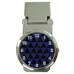 Triangle3 Black Marble & Blue Leather Money Clip Watch by trendistuff