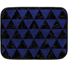 Triangle3 Black Marble & Blue Leather Double Sided Fleece Blanket (mini) by trendistuff