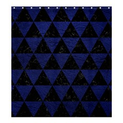 Triangle3 Black Marble & Blue Leather Shower Curtain 66  X 72  (large) by trendistuff