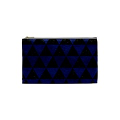 Triangle3 Black Marble & Blue Leather Cosmetic Bag (small) by trendistuff