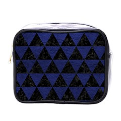 Triangle3 Black Marble & Blue Leather Mini Toiletries Bag (one Side) by trendistuff