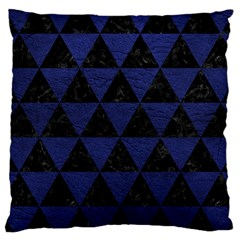 Triangle3 Black Marble & Blue Leather Large Cushion Case (one Side) by trendistuff