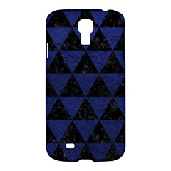Triangle3 Black Marble & Blue Leather Samsung Galaxy S4 I9500/i9505 Hardshell Case by trendistuff