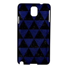 Triangle3 Black Marble & Blue Leather Samsung Galaxy Note 3 N9005 Hardshell Case by trendistuff