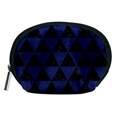 Triangle3 Black Marble & Blue Leather Accessory Pouch (medium) by trendistuff