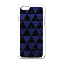 Triangle3 Black Marble & Blue Leather Apple Iphone 6/6s White Enamel Case by trendistuff