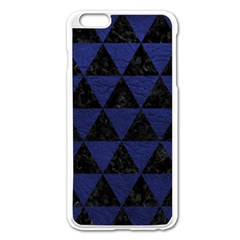 Triangle3 Black Marble & Blue Leather Apple Iphone 6 Plus/6s Plus Enamel White Case by trendistuff