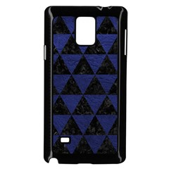 Triangle3 Black Marble & Blue Leather Samsung Galaxy Note 4 Case (black) by trendistuff