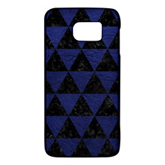 Triangle3 Black Marble & Blue Leather Samsung Galaxy S6 Hardshell Case  by trendistuff
