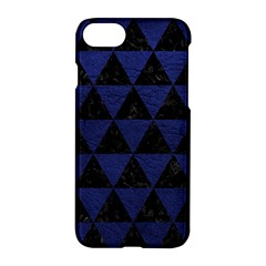 Triangle3 Black Marble & Blue Leather Apple Iphone 7 Hardshell Case by trendistuff