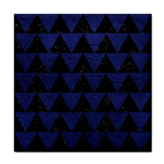 Triangle2 Black Marble & Blue Leather Tile Coaster by trendistuff