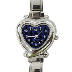 Triangle2 Black Marble & Blue Leather Heart Italian Charm Watch by trendistuff
