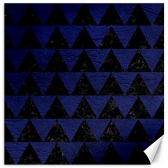 Triangle2 Black Marble & Blue Leather Canvas 12  X 12  by trendistuff