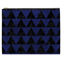 Triangle2 Black Marble & Blue Leather Cosmetic Bag (xxxl) by trendistuff