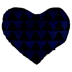 Triangle2 Black Marble & Blue Leather Large 19  Premium Heart Shape Cushion by trendistuff