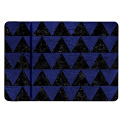 Triangle2 Black Marble & Blue Leather Samsung Galaxy Tab 8 9  P7300 Flip Case by trendistuff
