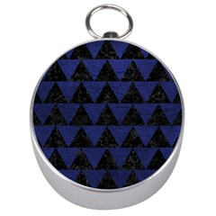 Triangle2 Black Marble & Blue Leather Silver Compass by trendistuff