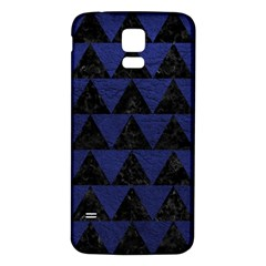 Triangle2 Black Marble & Blue Leather Samsung Galaxy S5 Back Case (white) by trendistuff