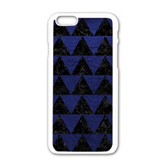 Triangle2 Black Marble & Blue Leather Apple Iphone 6/6s White Enamel Case by trendistuff