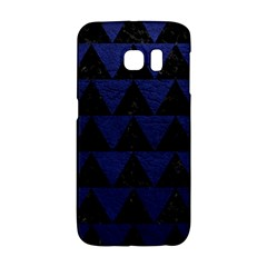 Triangle2 Black Marble & Blue Leather Samsung Galaxy S6 Edge Hardshell Case by trendistuff