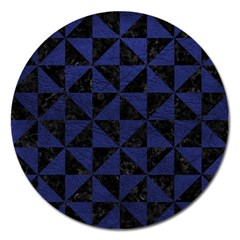Triangle1 Black Marble & Blue Leather Magnet 5  (round) by trendistuff