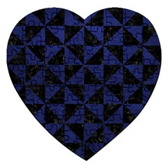 Triangle1 Black Marble & Blue Leather Jigsaw Puzzle (heart) by trendistuff