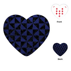 Triangle1 Black Marble & Blue Leather Playing Cards (heart) by trendistuff