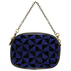 Triangle1 Black Marble & Blue Leather Chain Purse (one Side) by trendistuff