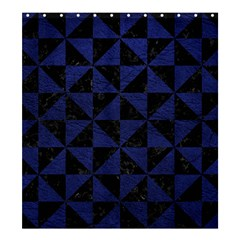 Triangle1 Black Marble & Blue Leather Shower Curtain 66  X 72  (large) by trendistuff