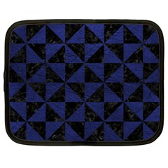 Triangle1 Black Marble & Blue Leather Netbook Case (xxl) by trendistuff
