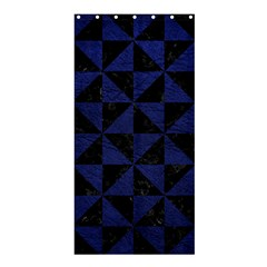 Triangle1 Black Marble & Blue Leather Shower Curtain 36  X 72  (stall) by trendistuff