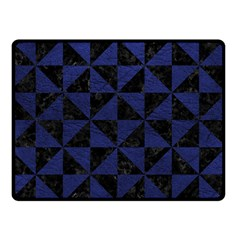 Triangle1 Black Marble & Blue Leather Double Sided Fleece Blanket (small) by trendistuff