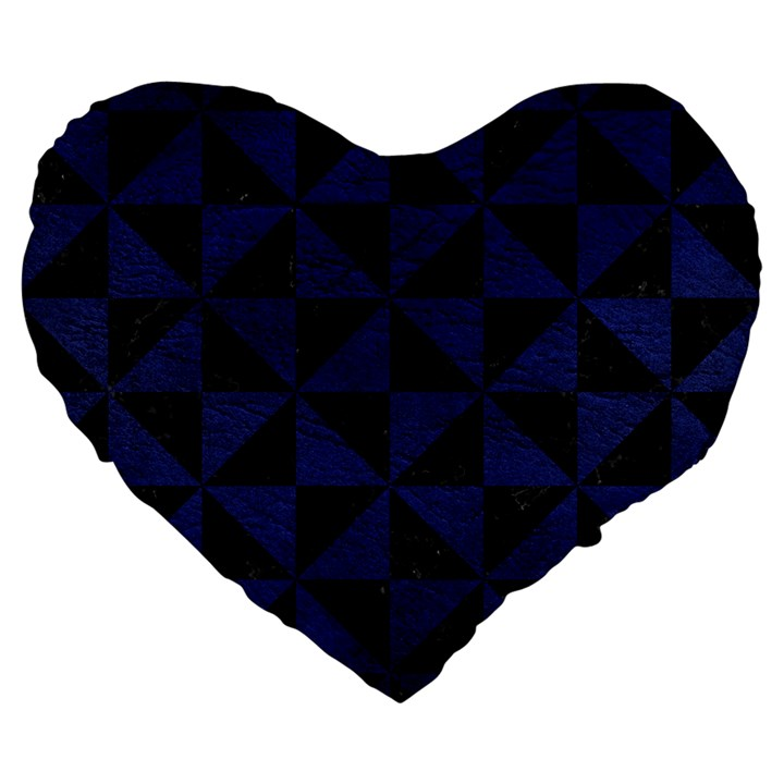 TRIANGLE1 BLACK MARBLE & BLUE LEATHER Large 19  Premium Flano Heart Shape Cushion