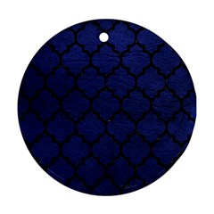 Tile1 Black Marble & Blue Leather (r) Ornament (round) by trendistuff