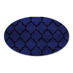 Tile1 Black Marble & Blue Leather (r) Magnet (oval) by trendistuff