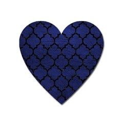 Tile1 Black Marble & Blue Leather (r) Magnet (heart) by trendistuff