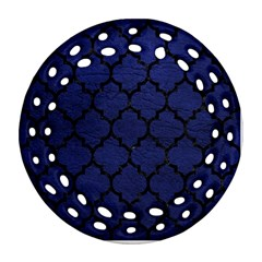 Tile1 Black Marble & Blue Leather (r) Ornament (round Filigree) by trendistuff