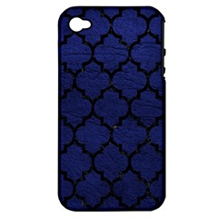 Tile1 Black Marble & Blue Leather (r) Apple Iphone 4/4s Hardshell Case (pc+silicone) by trendistuff