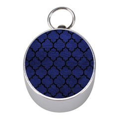 Tile1 Black Marble & Blue Leather (r) Silver Compass (mini) by trendistuff