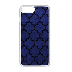 Tile1 Black Marble & Blue Leather (r) Apple Iphone 7 Plus White Seamless Case by trendistuff