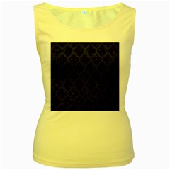 Tile1 Black Marble & Blue Leather Women s Yellow Tank Top by trendistuff