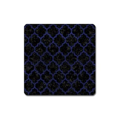Tile1 Black Marble & Blue Leather Magnet (square) by trendistuff