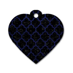 Tile1 Black Marble & Blue Leather Dog Tag Heart (one Side) by trendistuff