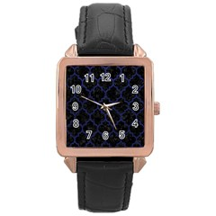 Tile1 Black Marble & Blue Leather Rose Gold Leather Watch  by trendistuff
