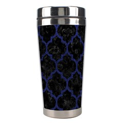 Tile1 Black Marble & Blue Leather Stainless Steel Travel Tumbler by trendistuff