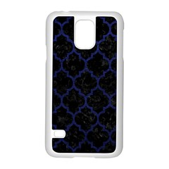 Tile1 Black Marble & Blue Leather Samsung Galaxy S5 Case (white) by trendistuff